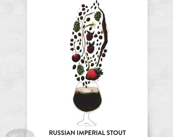 Beer Art Print, Russian Imperial Stout, Basement Bar Art, Brewery Art, with Glass / 12x16 Print