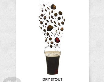 Craft Beer Art Print, Bar Art, 12x16, Brewery Art llustration, with Glass
