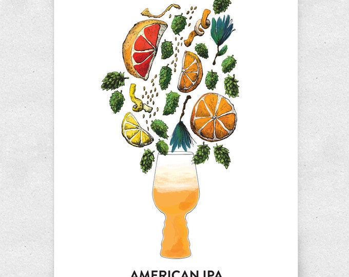 Featured listing image: Beer Art Print, American IPA, Wall Art, Bar Art, Brewery Art, with Glass / 12x16 Print