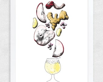 Hard Cider Wall Art, Cider Illustration, Bar Art, Brewery Art with Glass / 12x16 Print