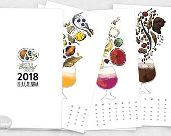 2018 Beer Art, Brewery Art, Beer Calendar / 6.75x12