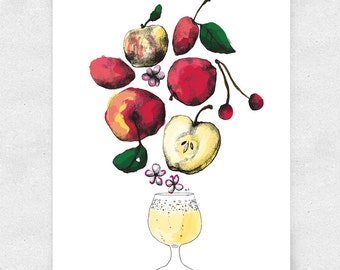 Hard Cider Print, Apple Cider, Basement Bar Art, Brewery Art, with Glass / 12x16 Print