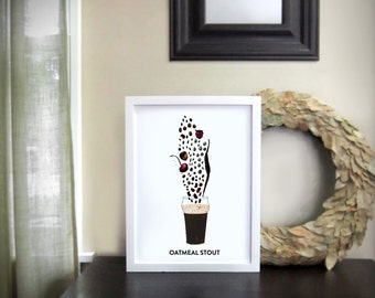 Beer Art, Bar Art, Oatmeal Stout Flavor and Aroma Illustration, with Glass / 12x16 Print