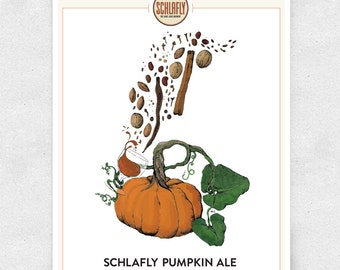 Pumpkin Beer Art Print, Schlafly Pumpkin Ale, Bar Art, Brewery Art, Illustration / 12x16 Print
