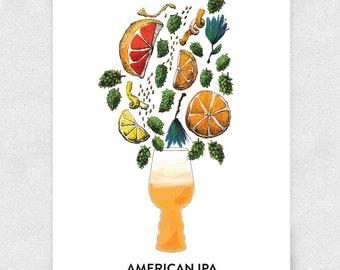Beer Art Print, American IPA, Wall Art, Bar Art, Brewery Art, with Glass / 12x16 Print