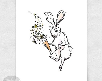 Bunny Art Print, Wall Art, Bar Art, Brewery Art / 8x10 Print