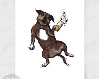 Pit Bull Art Print, Dog Wall Art, Beer Bar Art, Brewery Art / 8x10 Print