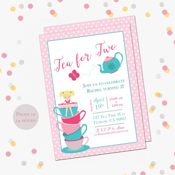 image relating to Printable Tea Party Invitations named Tea Occasion Birthday Get together Invitation, Tea for 2 Birthday
