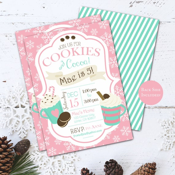 Cookies And Cocoa Birthday Party Invitation Hot Chocolate Invite