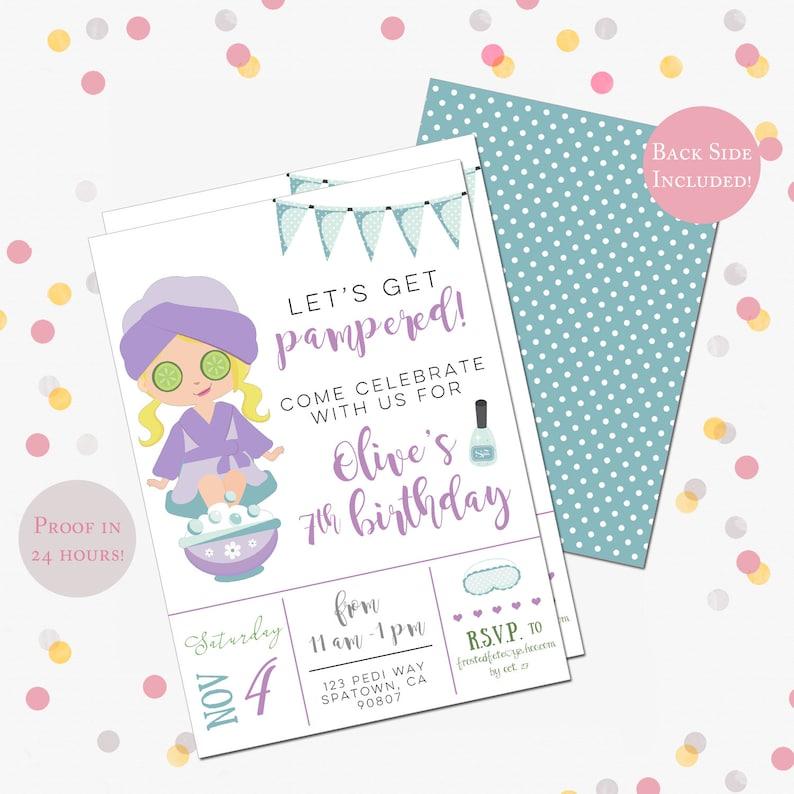 Spa Birthday Party Invitation Day Invite Girls Mani Pedi Pampered 5 X 7 DIY Printable PDF Or JPEG