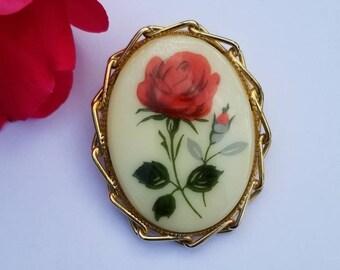Oval Porcelain Enamel Red Rose Cameo Pendant Brooch, Handpainted Floral Pin, Flower, Victorian Style, Vintage Bridal Wedding Mother Gift