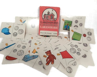 Vintage Math Counting Change Addition/Subtraction Arithmetic Flashcards. Lakeshore Curriculum Materials, Teaching Homeschooling Tutoring