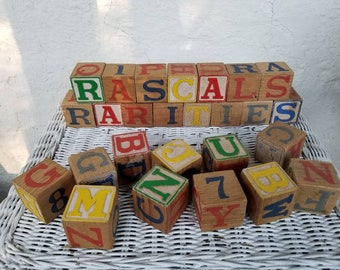 Vintage Wooden Blocks, Lot of 26 Children's ABC Wood Block Cubes, Numbers and Letters, Alphabet Blocks, Counting, Stacking Crafts Photo Prop