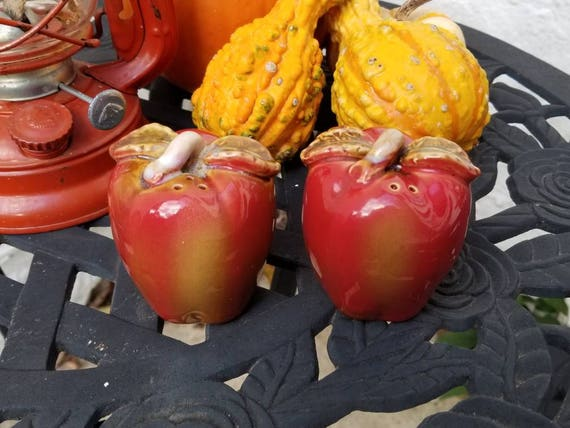 Ceramic Red Apple Salt And Pepper Shakers Candied Apples Etsy