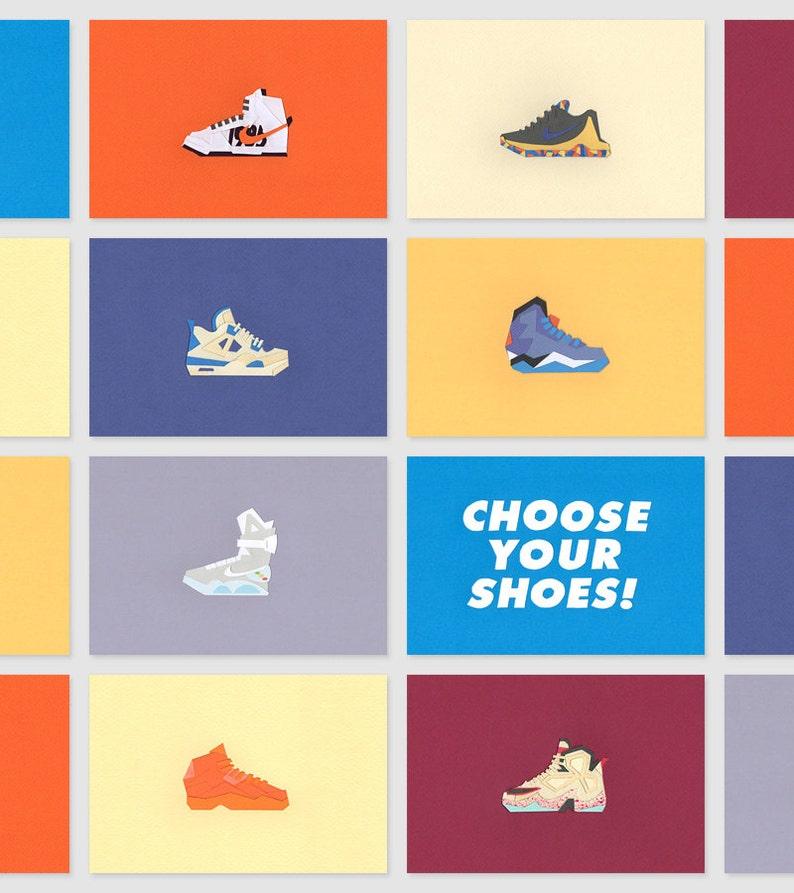 Papier Papercut Sneakers Nike Air Jordan Adidas K1X Reebok LeBron Kobe KD 21 x 15