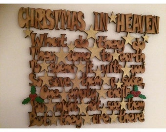 Laser cut wooden christmas in heaven sign