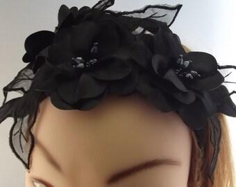 Ladies Black Flower Corsage Headband