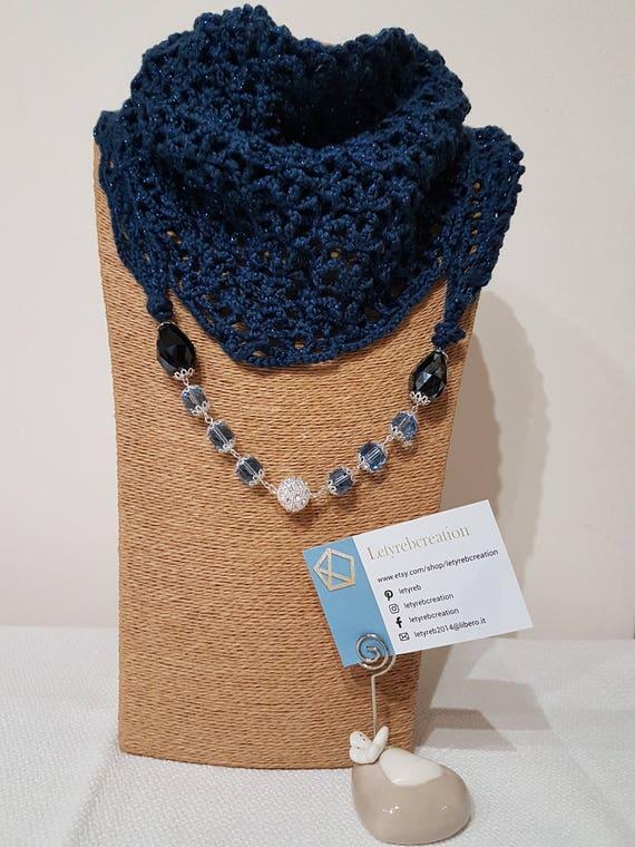 più amato 0e150 67b93 Sciarpa gioiello, baktus con collana blu, gioiello