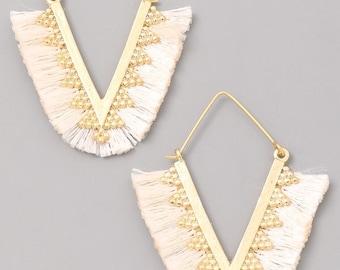 Fold Over Bead & Tassel Dangle Earrings