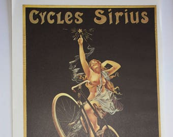 """Original vintage bicycle poster, taken from 100 years of Bicycle Posters, Jack Rennert, 16"""" x 11"""" Retro cycling poster"""