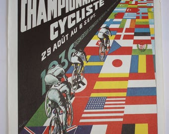 """Vintage bicycle poster, taken from 100 years of Bicycle Posters, Jack Rennert, 16"""" x 11"""" Retro cycling poster"""