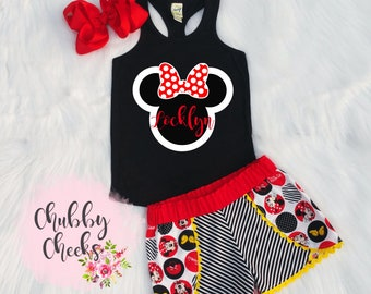 e7c6976e0 Girls Minnie mouse birthday outfit. first birthday. cake smash outfit.  Disney vacation clothing. girls clothing. Minnie mouse outfit.