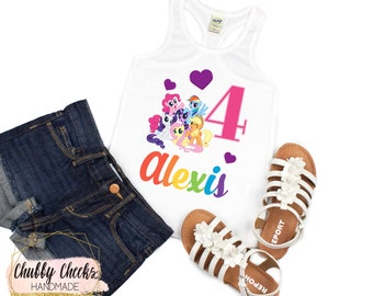 24228b3cc girls personalized birthday shirt, my little pony birthday shirt, girls  pony shirt, baby girl clothing, rainbow pony shirt, birthday tank