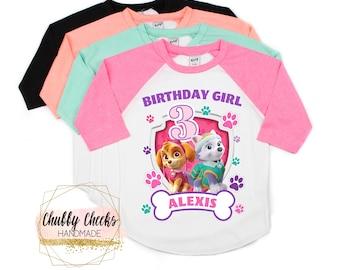 Girls Paw Patrol Birthday Shirt Raglan Personalized Party Family