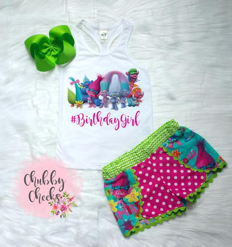 015b82202b Trolls birthday outfit/ girls birthday outfit/ poppy birthday/ | Etsy