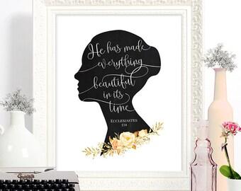 PRINTED // Wall art, room decor, housewarming, download // Bible Verse Verse Ecclesiastes 3:11 Woman Silhouette // #8891P