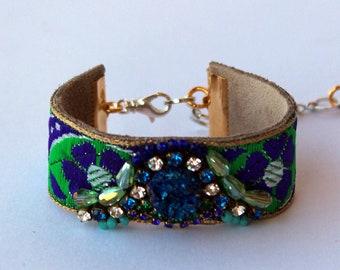 Royal Blue Agate Cuff | Unique Boho Bracelet, Druzy Gemstone, Navy Blue and Grass Green Bracelet, Vintage Swarovski Crystal, Druzy Quartz