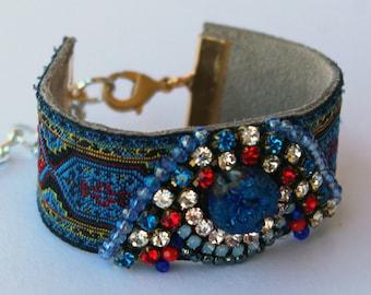 Blue Agate Bracelet; Druzy Quartz Stone Jewellery, Unique Boho Gifts for Her, Beaded Cuff Bracelet, Bohemian Luxury
