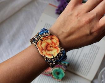 Orange Flower Bracelet | Modern Bohemian, Boho Luxe Jewelry, Orange and Blue, Statement Friendship Cuff, Botanical Jewelry, Hippie Style