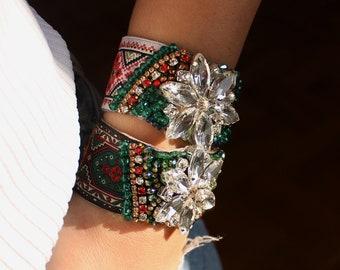 Crystal Cuff Bracelet | Boho Luxe Jewelry, Red Statement Bracelet, Rhinestone Flower Pendant, Bohemian Fabric Cuff, Elegant Cuff Bracelet
