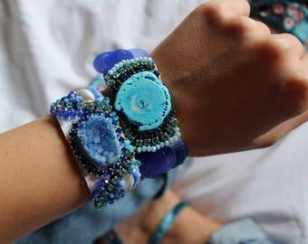 Turquoise Cuff Gemstone Bracelet Blue Agate Bracelet Boho Luxury Jewelry Gift for Her Natural Stone Bracelet Swarovski Bracelet Boho Cuff