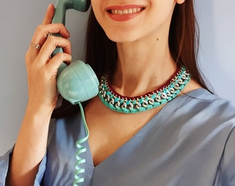 Large Chunky Chain Light Blue Crochet Necklace Bohemian Fashion Statement Jewellery