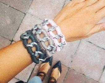 Chunky Chain Bracelet Woven Bracelet for Women Large Chain Link Bracelet Silver Chain Bracelets Crochet Chain Bracelet Stackable Bracelets