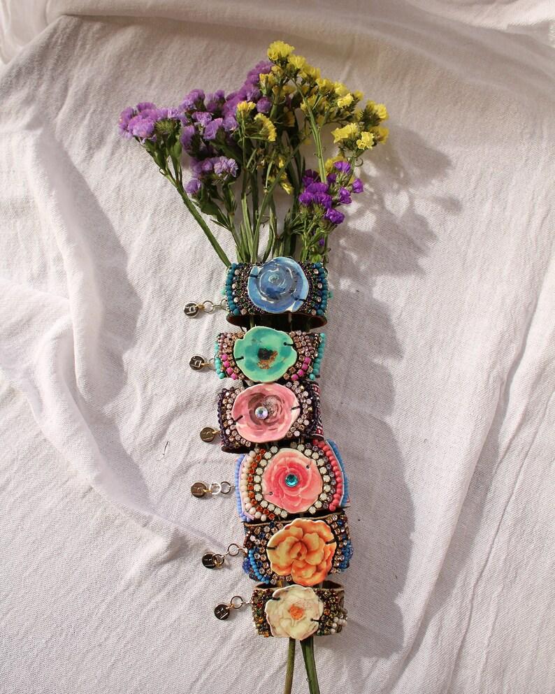 Unique Boho Gift for Her Blossom Bracelet Royal Blue Statement Cuff Bracelet Bohemian Luxe Jewelry Blue Rose Bracelet Flower Jewelry