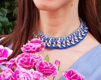 Chunky Chain Layer Crochet Woven 80s Style Statement Necklace