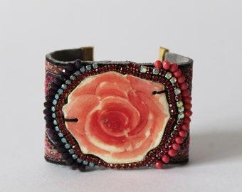 Pink Rose Bracelet | Wide Cuff Bracelet, Floral Jewelry, Shrink Plastic Cuff Bracelet, Handmade Blush Pink Bracelet, Swarovski Crystal