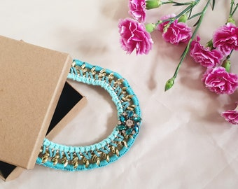 Teal Chunky Gold Chain Cotton Crochet Flower Pendant Statement Necklace