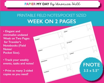 Printable Week on Two Pages - Undated WO2P for Field Notes and Pocket Sized Travelers Notebooks