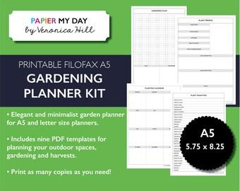 Printable A5 Filofax Garden Planner   Gardening Planner Kit For Filofax And  Kikki K Planners