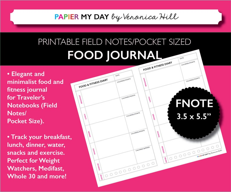 photograph relating to Printable Food and Exercise Journal titled Sector Notes Dimensions Dinner Log - Printable Food stuff Diary / Foodstuff Magazine for Market Notes and Pocket Vacationers Notebooks