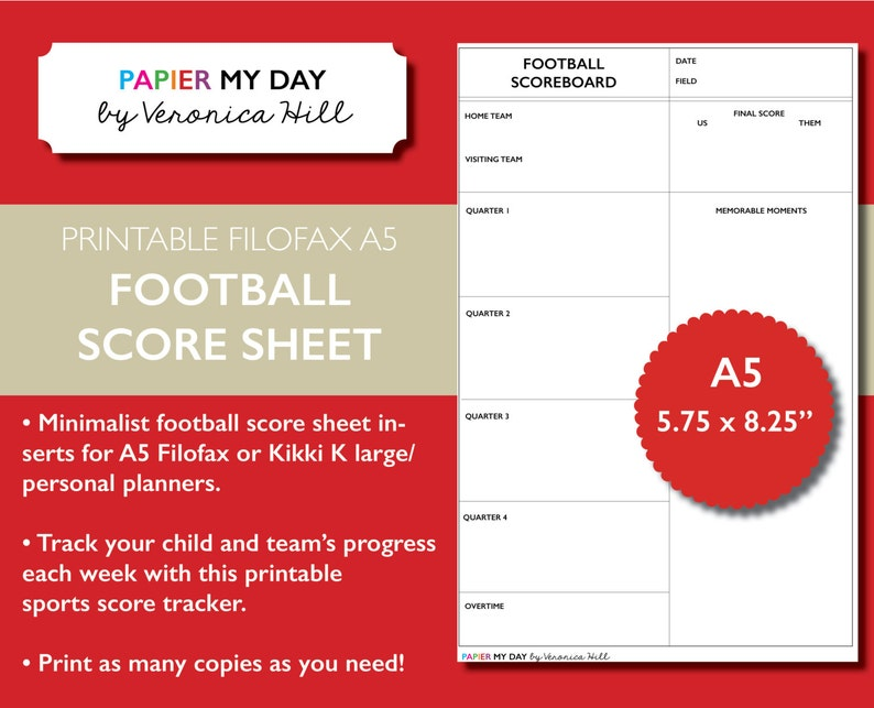 Printable A5 Filofax Football Score Sheet - Football Score Sheets for  Filofax and Kikki K planners