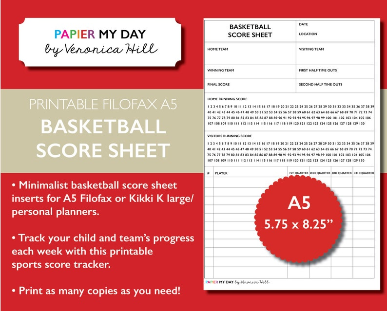 picture relating to Printable Basketball Score Sheets identified as Printable A5 Filofax Basketball Ranking Sheet - Basketball Ranking Sheets for Filofax and Kikki K planners