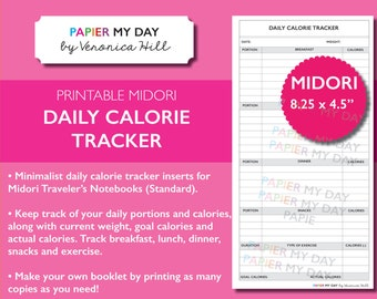 Midori Travelers Notebook Daily Calorie Tracker - Printable Calorie Tracker for MTN, Foxydori and more!