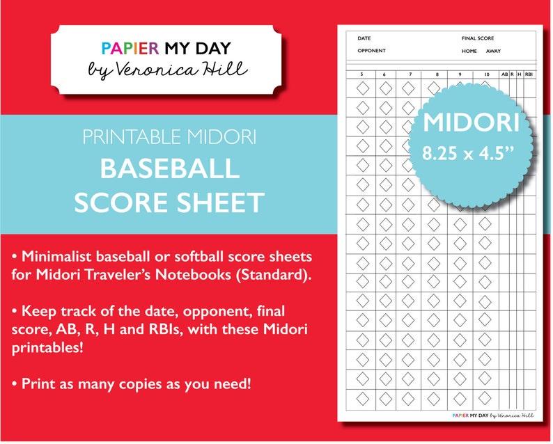 Midori Travelers Notebook Baseball Score Sheet 2 Page Etsy