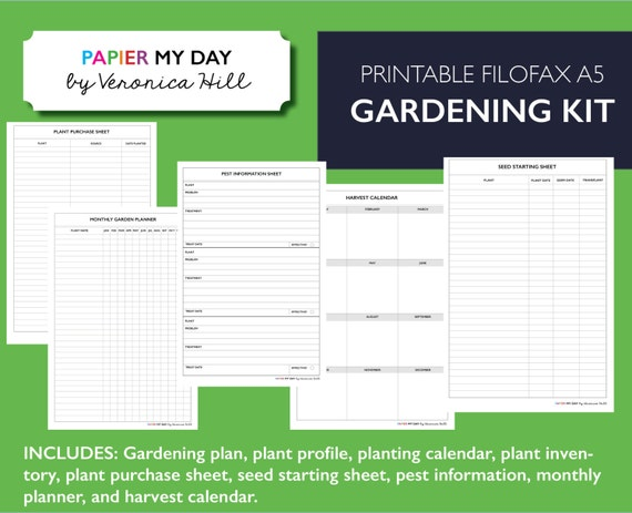 image relating to Printable Garden Planner named Printable A5 Filofax Backyard garden Planner - Gardening Planner Package for Filofax and Kikki K planners