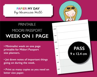 Midori Passport Week on One Page - Printable Passport Size Week on One Page for all travelers notebooks